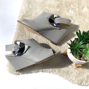 Butter | Grey Peep Toe Wedge Sandals Size 8